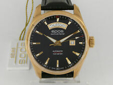 BNIB JUMBO Swiss Epos Oyster auto day date black dial gold plated dressing watch