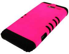 Hot Pink Snap on Black Silicone Hybrid Cover Case + Motorola Droid RAZR M XT907