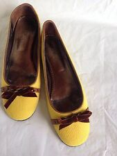 J CREW BALLET FLATS SHOES TWEED LEATHER YELLOW / BROWN MADE IN ITALY SZ 9 1/2  M