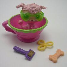 Littlest Pet Shop dog lot  #48  pink poodle in a teacup accessories bone brush