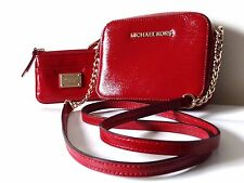 Beautiful MICHAEL KORS  Red Small Crossbody Purse Gold Coin Purse MK Logo Gift
