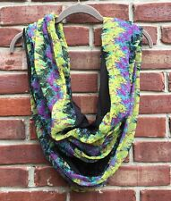 Steve Madden SM Two Tone Floral Green Purple Black Infinity Scarf *Anthro RARE!