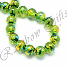 DRAWBENCH GLASS BEADS ROUND DRIZZLE GLASS BEADS 4mm 6mm 8mm AMBER GREEN PINK