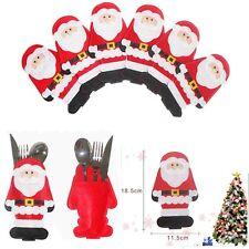 6pcs 1-Set Weihnachten Tischdeko Besteck Halter Santa Kleidung-Motiv Taschen Neu