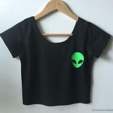 Sexy Alien Print Women's Ladies Short Sleeve Tee Blouse Casual Crop Top T-Shirt