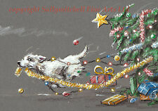 Cute Westie Christmas cards pack of 10. Dog cards. C461x Tree Felling