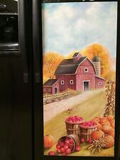 Country Barn Farm Apple Pumpkin Fridge Refrigerator Magnetic Cover Kitchen Decor