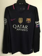 Barcelona Away Messi #10 Champions League Patch Adult Long Sleeve Jersey Large