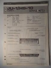 Original ROLAND Service Notes- JU-1/HS-10 Juno-1 Keyboard