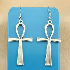 6 Pairs silver Color ankh cross Pendant Size 52*28mm Zinc Alloy Earring Hook