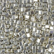 Miyuki Metallic Silver 4mm Square (Cube) Glass Seed Beads 20g Tube (B86/13)