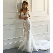 Vintage Lace Applique Mermaid Wedding Dress Court Train Off Shoulder Bridal Gown