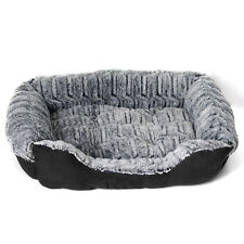 Suede Pet Bed Soft Cozy Warm Grey Pad Crate Pillow Mat Dog Puppy Cat Large
