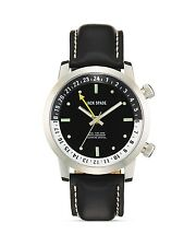 Jack Spade Stanton Dual Time Black Men's Leather Watch, 43mm GIFT NIB $528