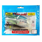 """Sidewinder Super Shads The Bass Pack 4"""" Fishing Lures"""