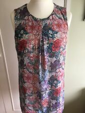 BNWOT H&M multi floral tunic dress 14 red blue fully lined