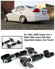 For 01-05 Civic 02-06 RSX Black Coated Rear Adjustable Alignment Camber Arm Toe