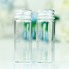 10Pcs Small Tiny Empty Clear Bottles Glass Vials 22x60mm With Screw Lid 14ml DG