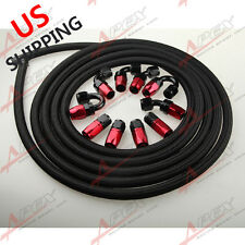AN8 -8AN NYLON BRAIDED OIL/FUEL Hose + Fitting Hose End Adaptor Red And Black US