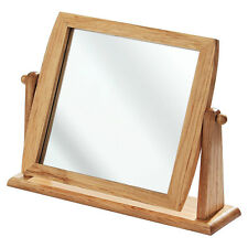 Free Standing Swivel Table Mirror Wooden Frame With Stand Bathroom Mirror New