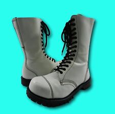 Vintage GETTA GRIP White Leather Combat Steampunk Boots UK 5/US 7 Made in UK