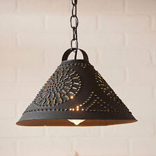 Pendant Kitchen Lighting - Textured Black - Country Style Hitchcock Shade Light