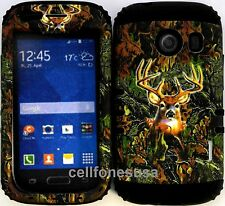Hybrid Cover Case Samsung Galaxy Ace  Style S765c Deer Camo Mossy Black