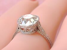 ANTIQUE ART DECO 2.65ct OLD MINE DIAMOND SOLITAIRE PLATINUM ENGAGEMENT RING 1930