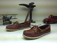VINTAGE TIMBERLAND MADE IN USA BROWN LEATHER SLIP ON DECK BOAT CANOE SHOES 8 D