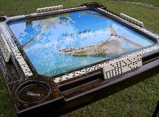 Domino Tables by Art with Beautiful Boat on Beach & Family Names