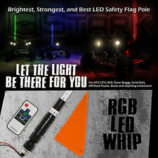 """60"""" 5FT RGB Lighted 5050 LED Light Whip Quick Release w/ Remote Offroad - 1Pc"""