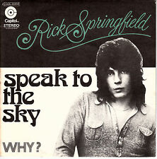 """7"""" 45 TOURS FRANCE RICK SPRINGFIELD """"Speak To The Sky / Why ?"""" 1972"""