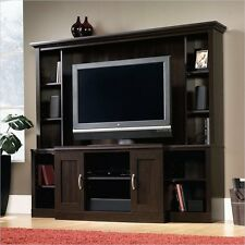 Sauder Select Large Entertainment Center wall unit in Cinnamon Cherry