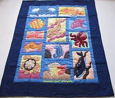 Hawaiian STYLE QUILT BABY BLANKET hand quilted wall hanging UNDERSEA NAVY BLUE