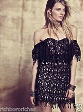 NWT Free People X Stone Cold Fox black Lace Off The Shoulder Fringe Dress XS/S