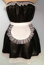 black satin dress + apron  rocky horror fancy dress sissy french maid  36-52 new
