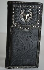 COWBOY MEN BLACK TEXAS LONGHORN CONCHO STUDDED LEATHER TOOLED WOVEN LONG WALLET