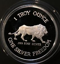 1984 Proof Lion & Coeur D'Alene Mines 1 Troy Ounce .999 Fine Silver Freedom Coin