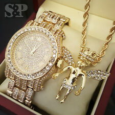 Hip Hop Iced Out Gold PT Simulated Diamond WATCH & Baby Angel Necklace Combo Set