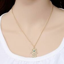 vintage Fashion Jewellery Gold Plated Chain Fatima Hamsa Hand Pendants Necklace