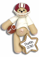 RED FOOTBALL Player Bear Personalized Christmas Ornament  POLYMER CLAY