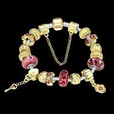 Damen Armband Bettelarmband Beads golden/rot 20cm pl. mit Sterlingsilber/Gold