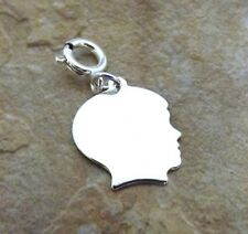 Sterling Silver Small Boy Head Charm/Free Engraving fits Charm Bracelets- 2187