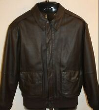 Mens Airborne Dark Brown Leather Bomber Flight Lined Jacket Coat Size Medium