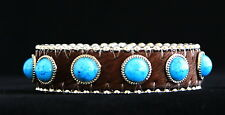 Brown & Turquoise Jewelry Skinny Thin Leather Cuff~bracelet Wholesale