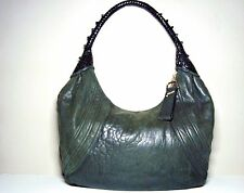 Fendi Large Soft Green Leather Hobo Spy Bag Woven Black Leather Handle