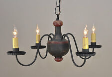 4-arm Woodspun Primitive Chandelier in Black - Wooden Light, Country Lighting