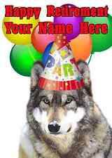 Wolf Happy Retirement Party Hat Card code9 Personalised Greetings