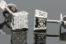 10K WHITE GOLD .35CARAT MENS/WOMENS 5mm 100% GENUINE DIAMONDS EARRING STUDS