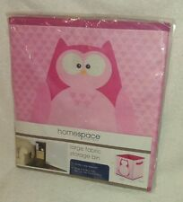 Large Fabric Storage Bin--Pink--Owl on Front & Back-10.5 in. X 26.7 in. X 11 in.
